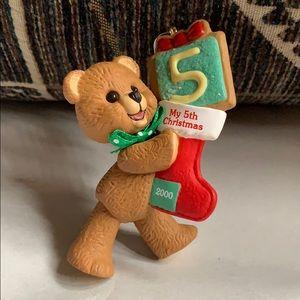 """3"""" My 5th Christmas 2000 bear 🐻 ornament Hallmark"""